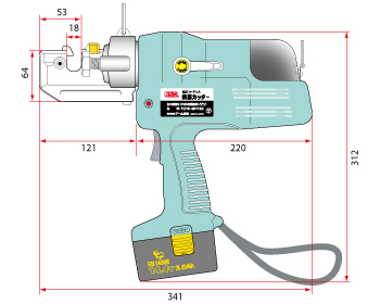 size diagram 2 cordless rebar cutter