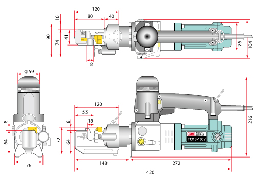 size diagram electric rebar cutter