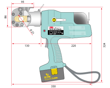 size diagram of cordless wire rope cutter 2
